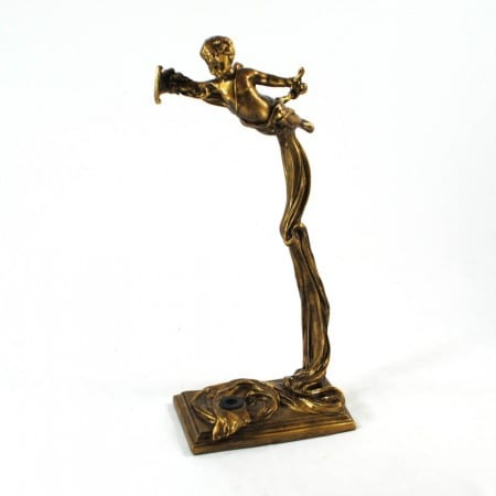 World Artisan Violin Stand – Greek Harpist – Aged Gold